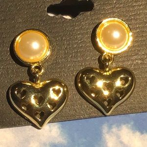 Heart pierced dangling earrings #107